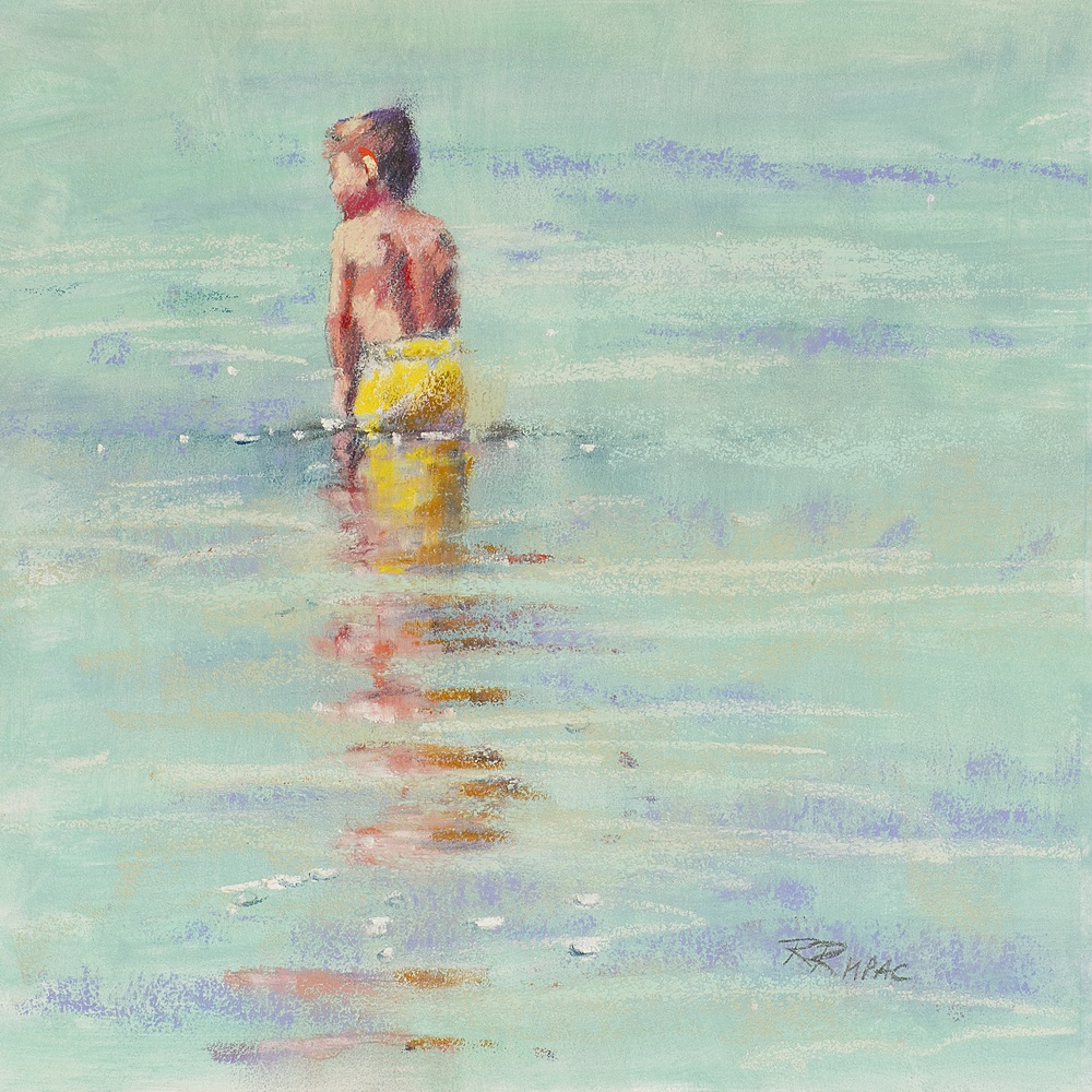 "First Dip 8"" x 8"" framed pastel $195"