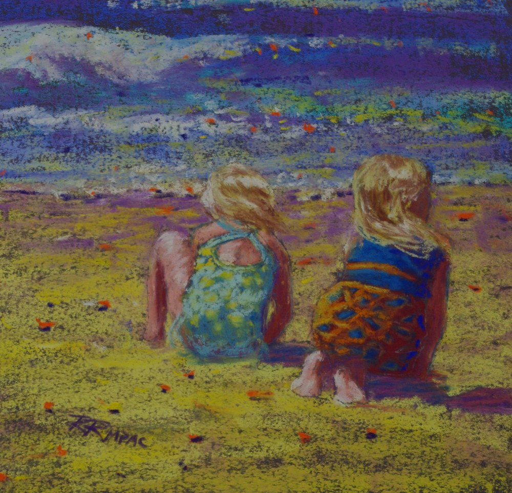 Beach Blondes 8 x 8 framed $195