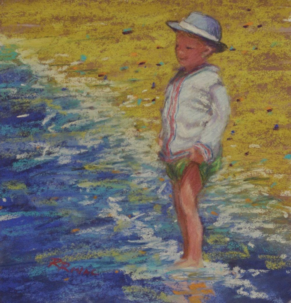 Spring Wader pastel 8 x 8 framed $195