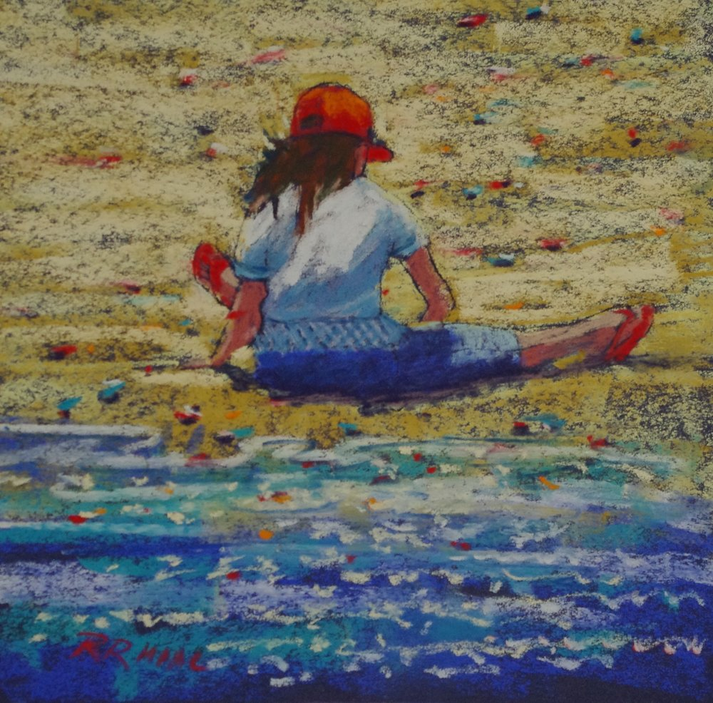Daring the Tide pastel 8 x 8 framed $195