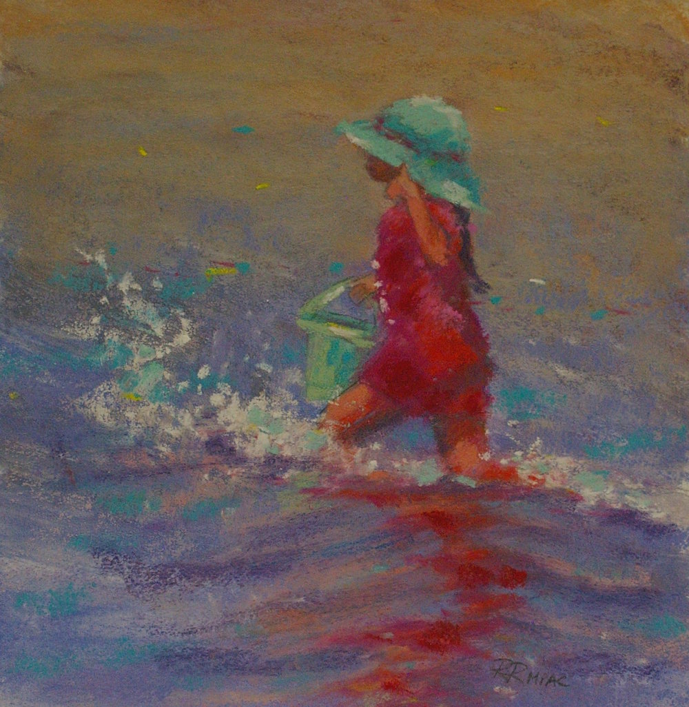 "Surf Splash pastel on sanded paper 8"" x 8"" $225"