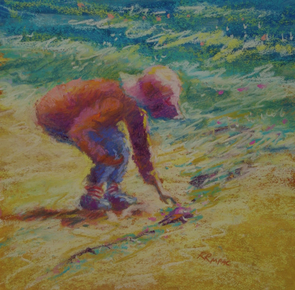 "Touch the Stars pastel on sanded paper 8"" x 8"" $225"
