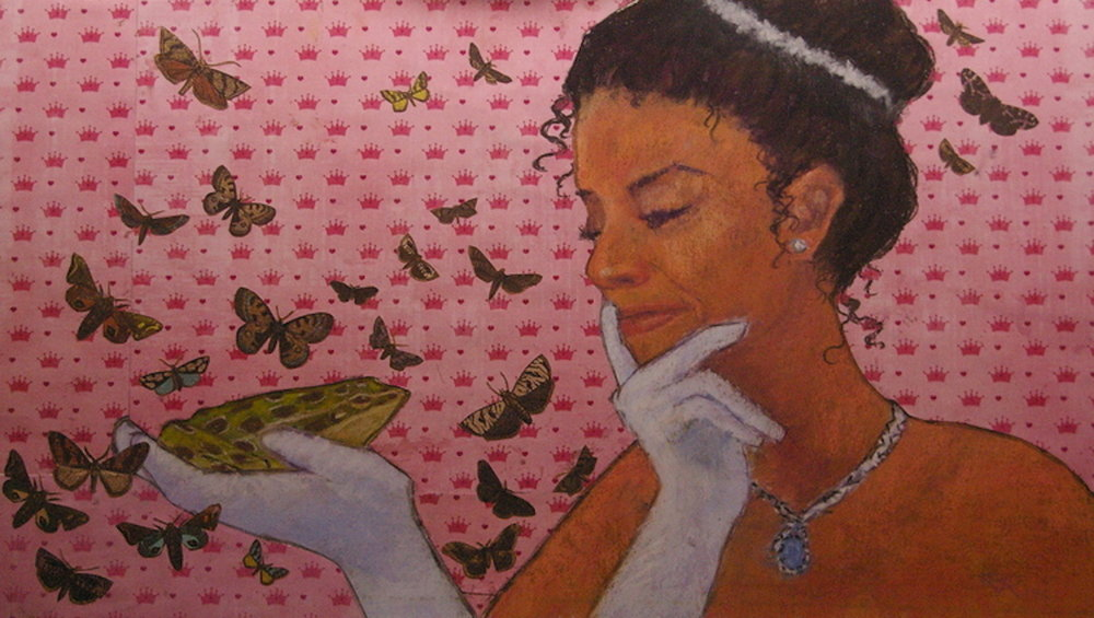 Would a Talking Frog be More Valuable? Mixed media on paper 14.25 x 26.25 $650 framed This piece suggests that Tiana, the entrepreneurial heroine of Disney's The Princess and the Frog film (2009) might have considered the potential marketability of a talking frog before kissing the bewitched amphibian to turn him back into a prince!