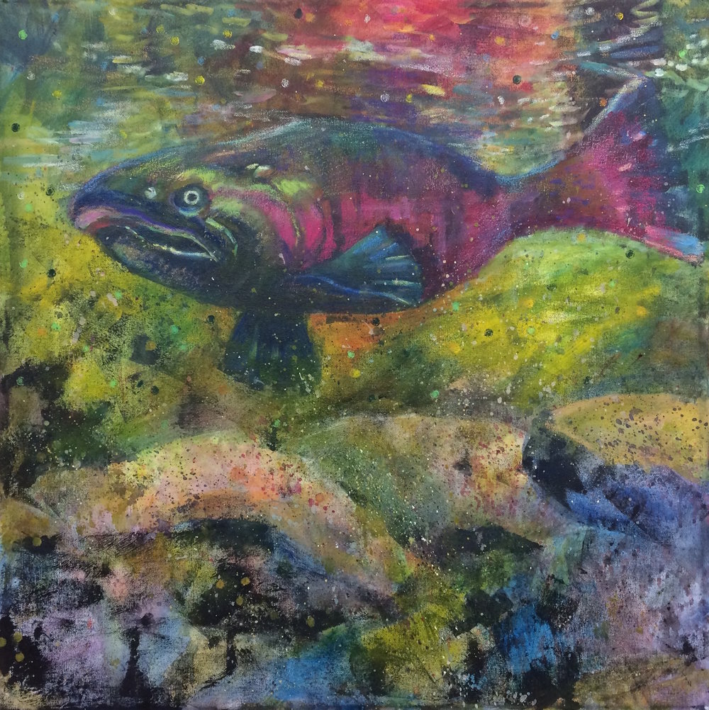 Take Me to the River   Mixed media on deep canvas 24 x 24 $650  This image of a spawning salmon reminds us of the importance of preserving and protecting the pristine river environments required by our native salmon, a precious economic, gastronomic, and ecological resource.
