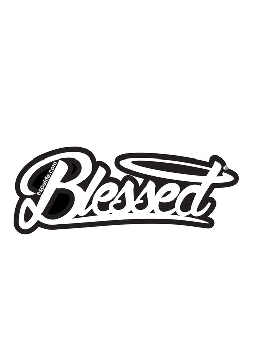 Blessed black white sticker