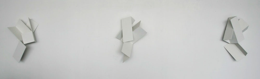 "Same but Different (Angeli),  1995, paint on plywood, height 24"". Identical objects rotated. The object developed from the chance mating two separately conceived studies."