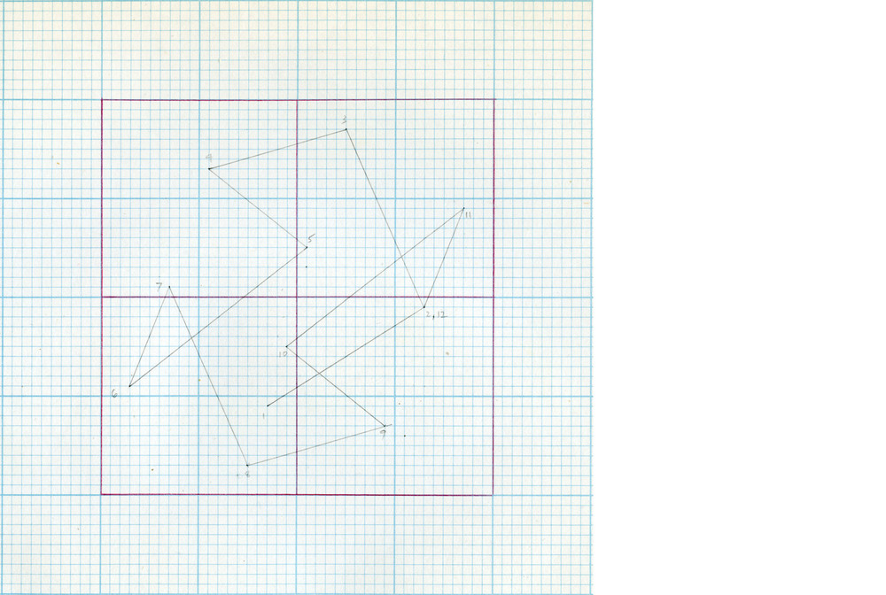 Random Walk,  1979, graphite and color pencil on graph paper, 6 x 6 in.
