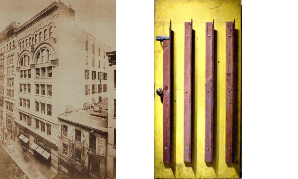 Left, 80 Wooster Street. Right, Bladed door to Maciunas's loft in 80 Wooster Street.