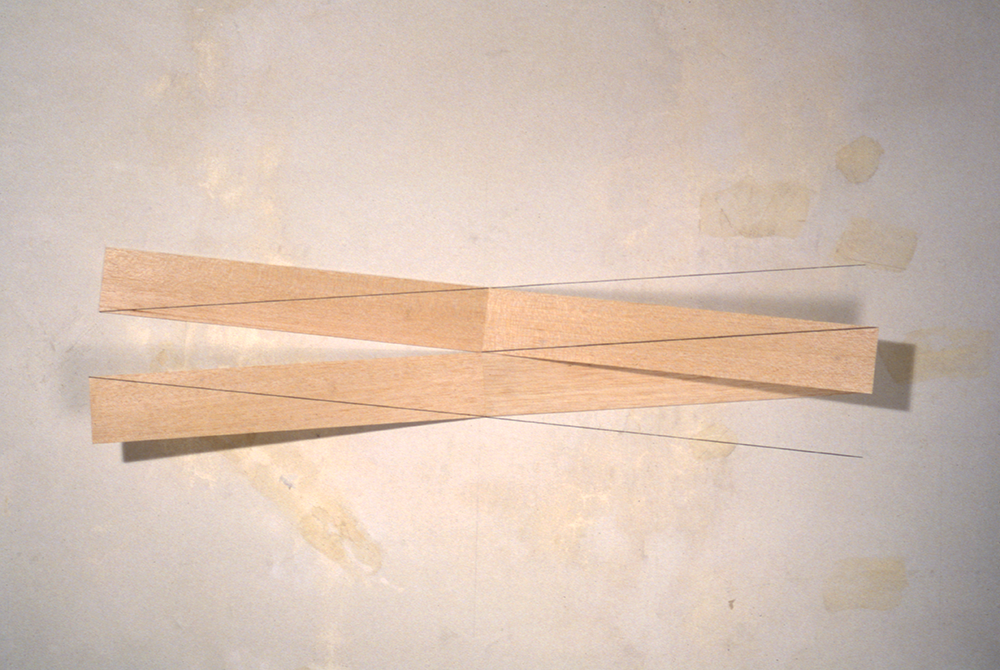 Untitled, 1988, graphite on wood and wall, 48 in. long.