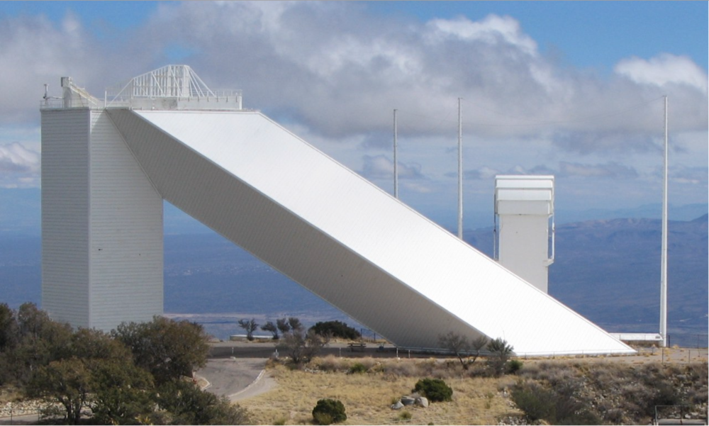 McMath-Pierce Solar Telescope, Kitt Peak Arizona, 1960-62, architect Myron Goldsmith: Partner, Skidmore Owings and Merrill, Chicago. The angled shaft is parallel to the earth's axis of rotation and extends into the earth.