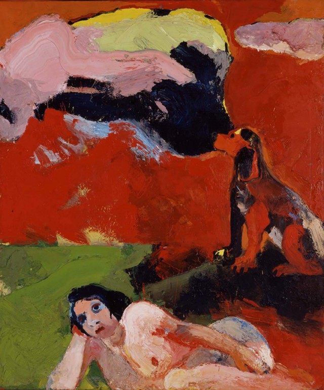 Joan Brown,  Nude, Dog, Clouds , 1963. Oil on canvas, 72 x 60 inches,Smithsonian American Art Museum Bequest of Edith S. and Arthur J. Levin