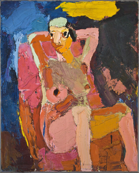 Joan Brown,  Girl in Chair , 1962, oil on canvas, 60 x 49 inches, Los Angeles County Museum of Art