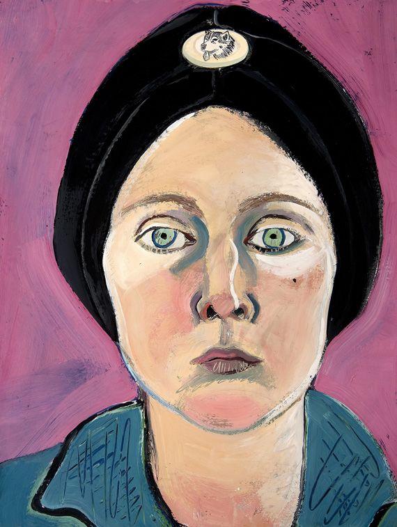 Joan Brown,  Untitled (Self‑portrait in Turban with Eskimo Dog Pin) , 1972