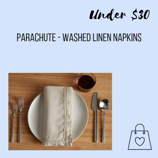 To avoid buying and wasting paper towels, I use cloth napkins like these washed linen napkins from Parachute.