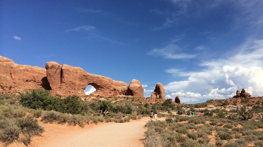 5:00 pm and it's 96 degrees at Tower Arch in Arches National Park.