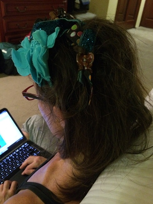 Elle's turn. While Tag falls asleep, Elle made my hair beautiful with every hair clip and headband she could find.