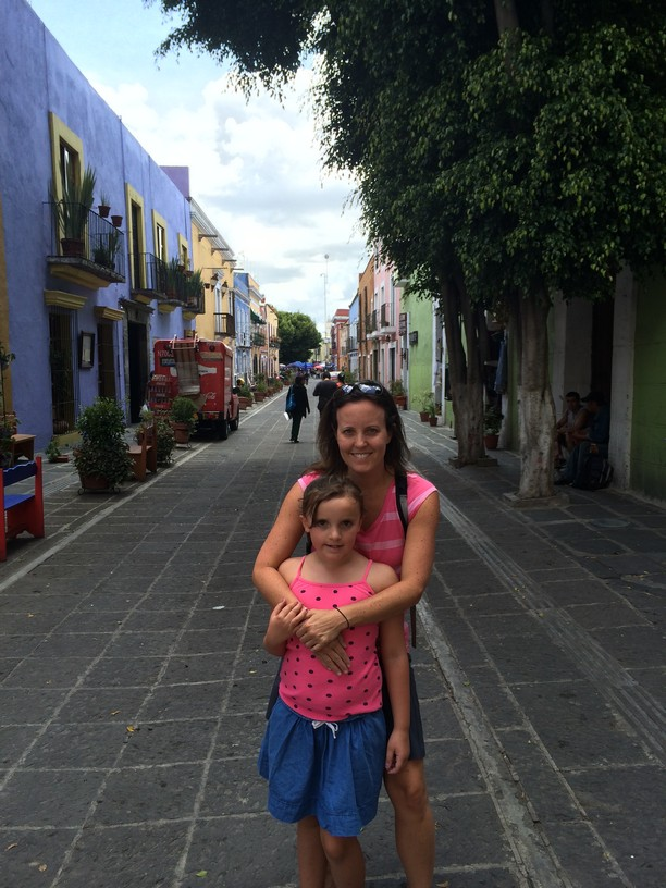 The girls in a street in Puebla