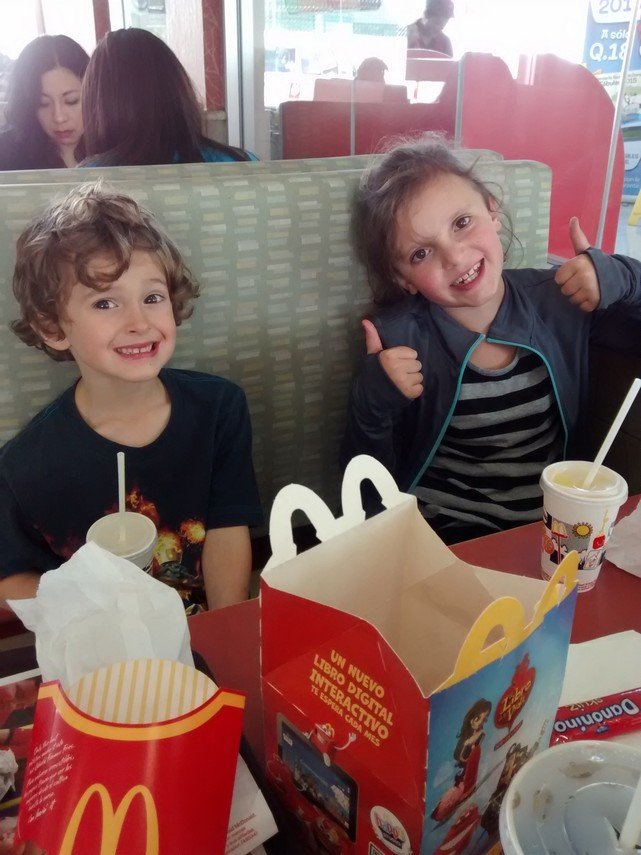 After the shots we took the kids to McDonald's to pick up their spirits.  We had not seen a McD's since Mexico and we've not been worse off for that. This would have been a special treat, even in the US.
