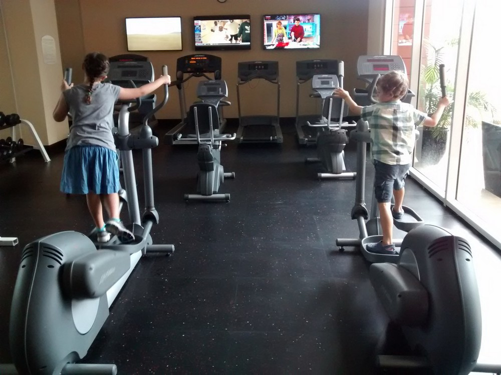 The kids enjoyed the workout facilities at the  hotel .