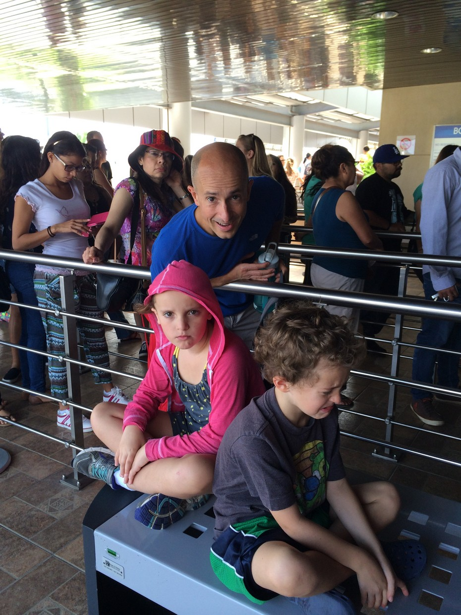 This is the line to get into the Canal's Museum and viewing station. It was early and the kids were not happy...but they recovered. They really like it when we take pictures of them grumpy!