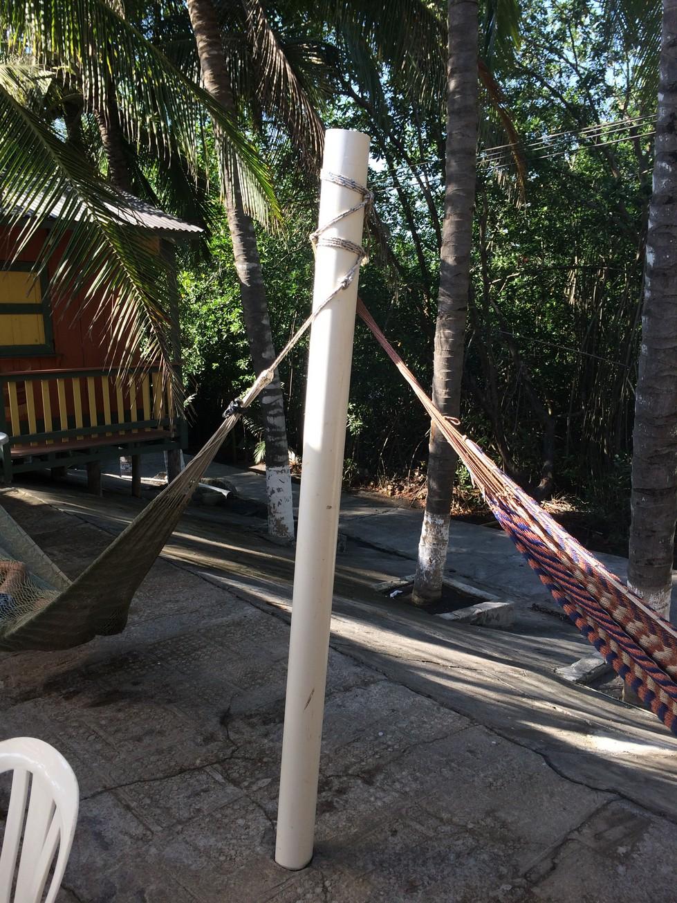 The poles holding up the hammocks (PVC).
