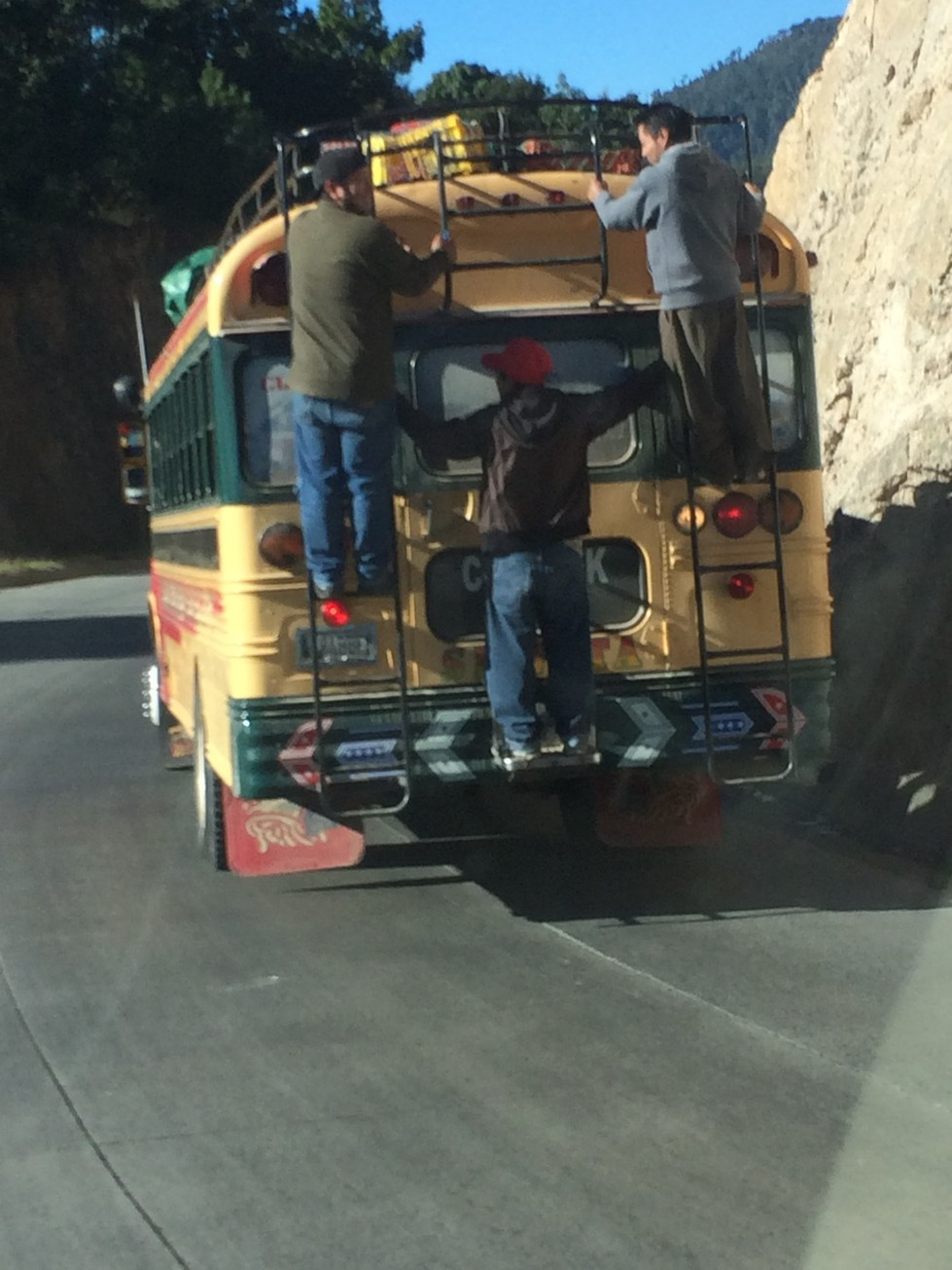 There's no more room on the bus...duh, that's what the ladders and bumper are for.