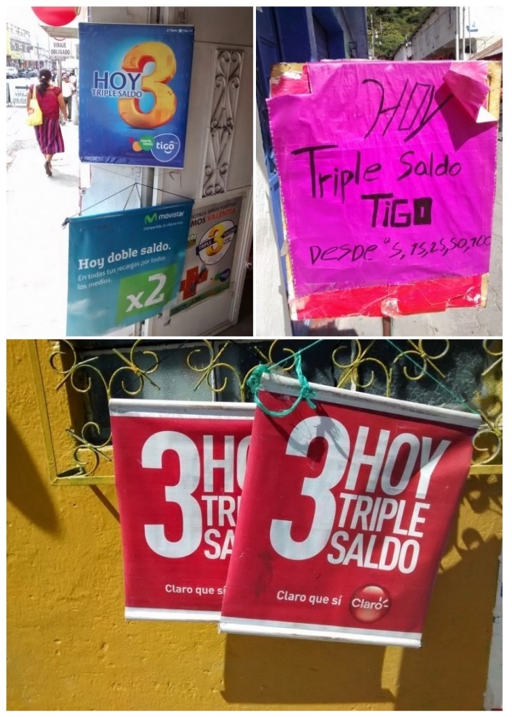 Examples of 3 for 1 or triple saldo sale signs.
