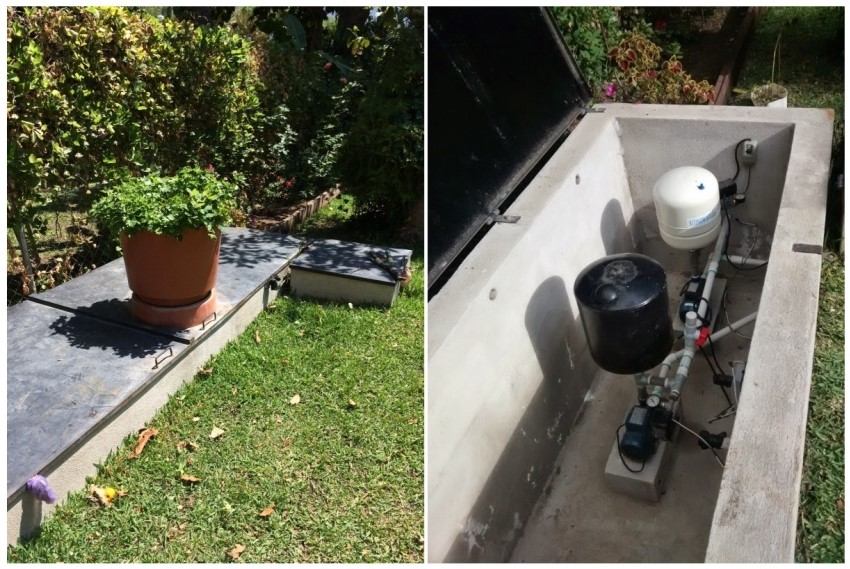 The outside and inside housing of the water pump that feeds our house. Our cistern is under the patch of grass right next to our pump.