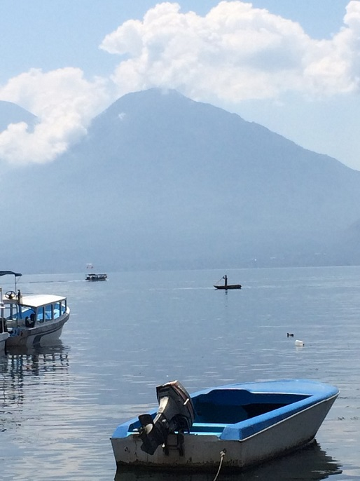Most of the maya in town subsist off of fishing or agriculture. Atitlan Volcano is in the background.