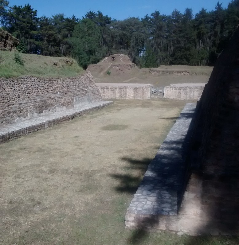 This is the center of the Ballcourt. It was used for a sport called Ōllamaliztli.