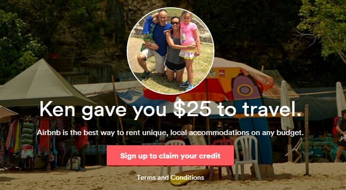 New Airbnb members get a $25 credit after booking through the photo above.