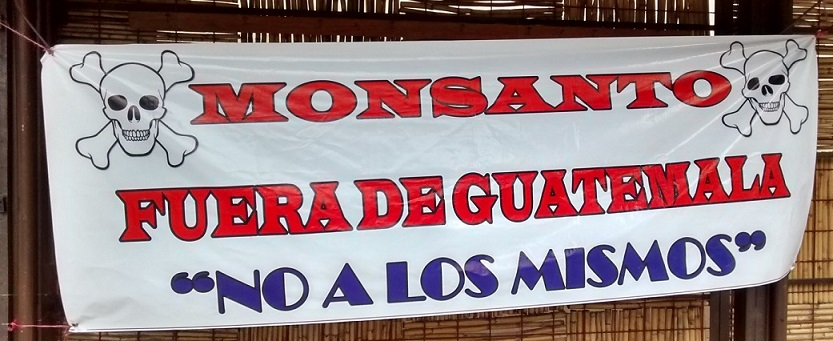 A sign protesting Monsanto in Guatemala. The protest worked. A bill forcing farmers to use their seed was revoked...at least for now.