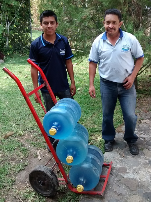 Our weekly delivery of drinking water. 3 bottles costs $3.75 delivered.