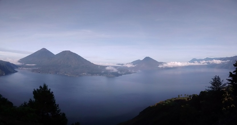 The view of Lake Atitlan from Mirador Godinez. This is where our run finished.