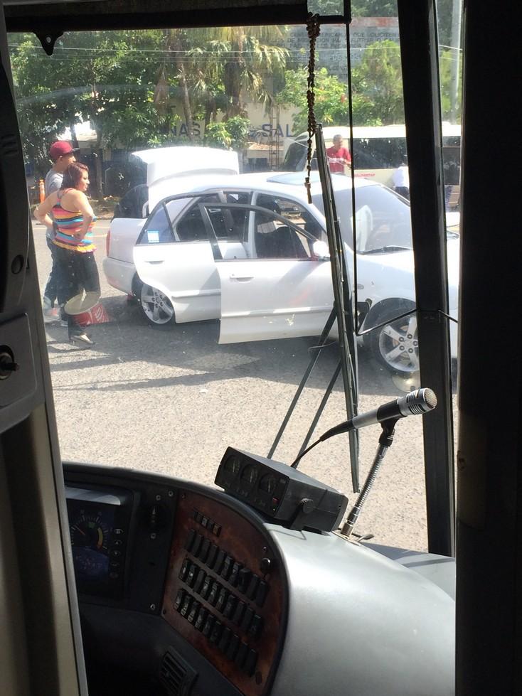 A thorough car inspection at the border into El Salvador.