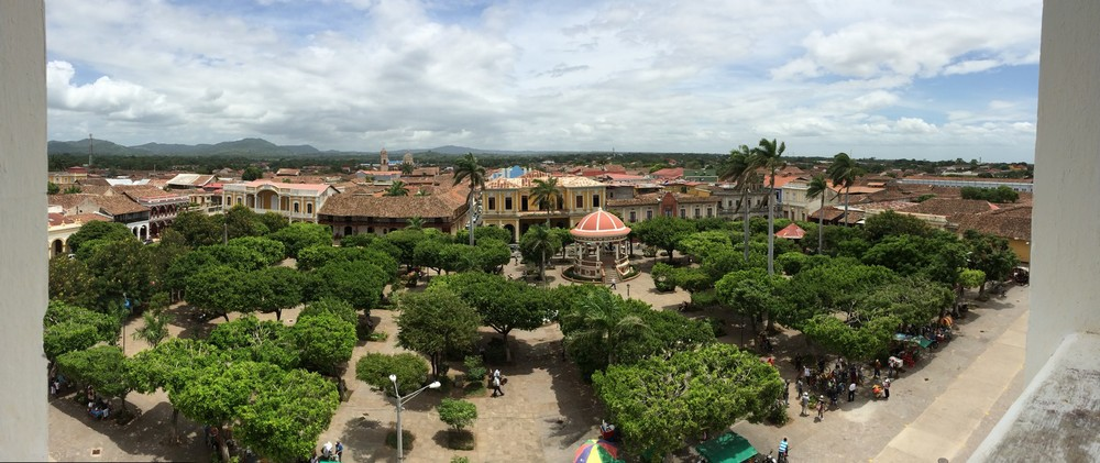 View of the main square in Granada and Christopher Columbus Park from the Bell Tower of Catedral de Granada