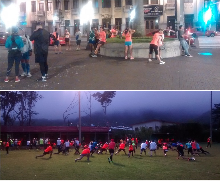 Top Pic - Runners waiting for the shuttle bus in downtown San Jose, Costa Rica at 4:15AM. Lower Pic - Runners stretching near the start an hour later.