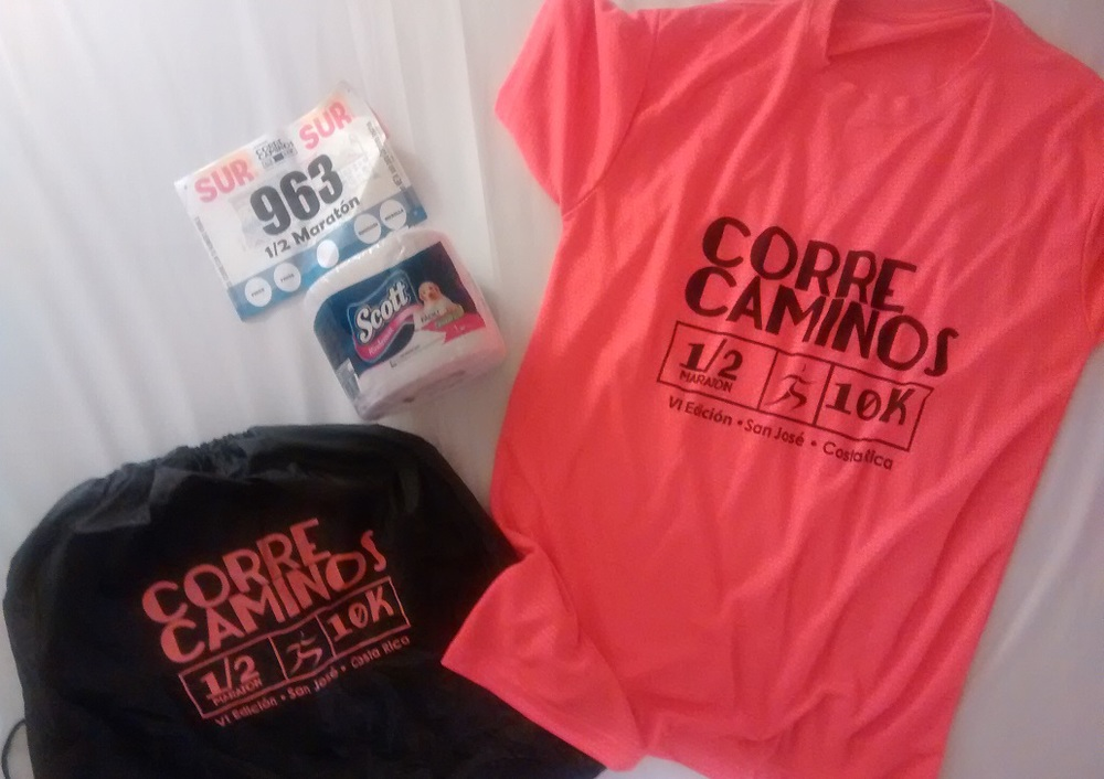 Free race bag, racing bib, racing shirt (with a recent iron-on logo) and...toilet paper of course