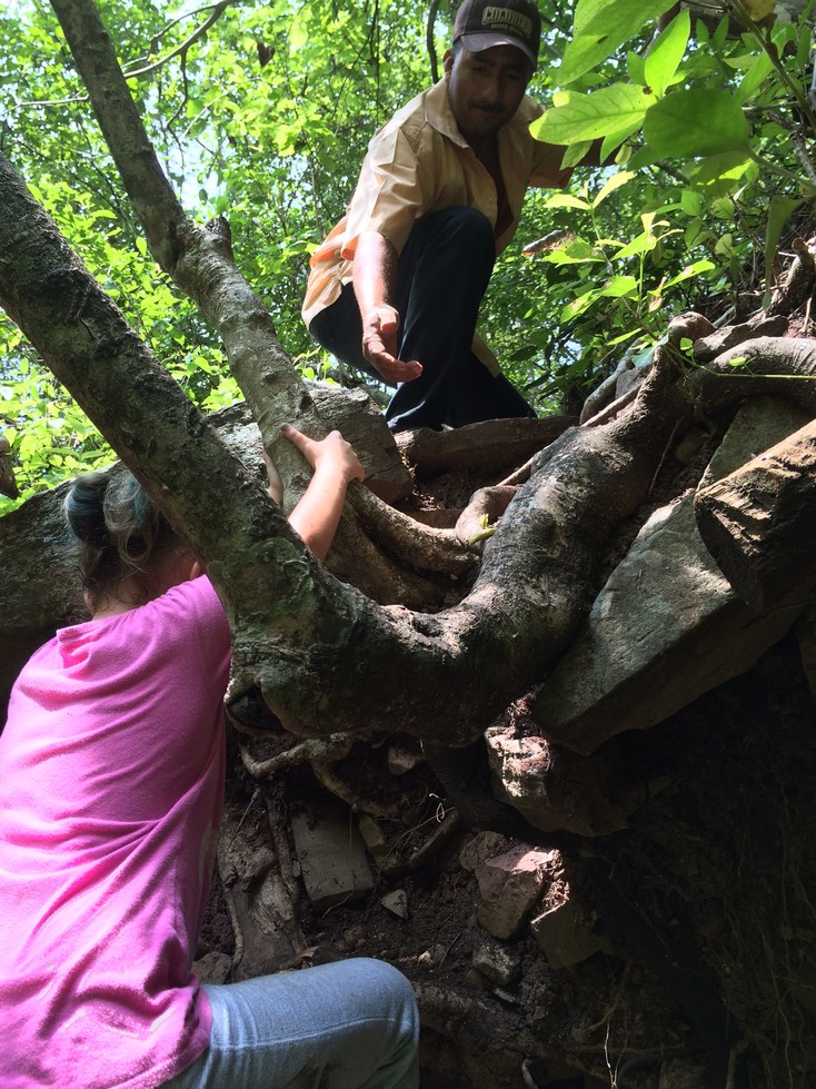 Ela is climbing up and through the tree roots that are in the middle of the trail. We had a blast on this hike!