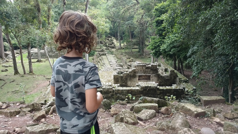 Tag is overlooking the former residences of the highest hierarchy at the Copan Ruins.