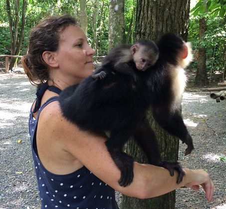 This mama monkey and her baby hung out on my shoulders and arm for at least 10 minutes. At one point, the baby's face was 2 inches from mine.