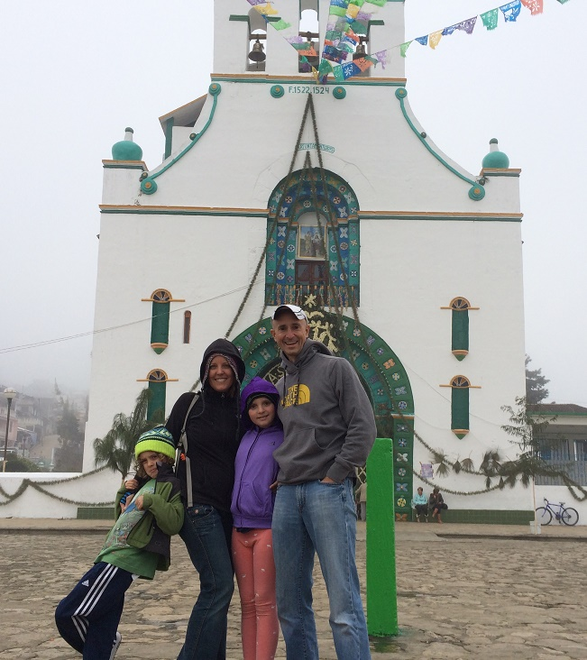 Outside the church in Chamula's zocalo. We were only allowed to take pictures outside. Yes, it was a cold day.