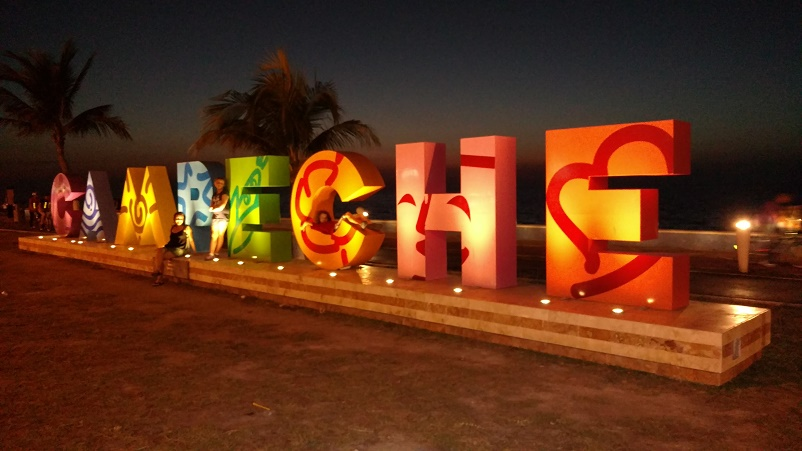 The best part of the malecon -- taking pictures on this cute sign. Can you find three of us?