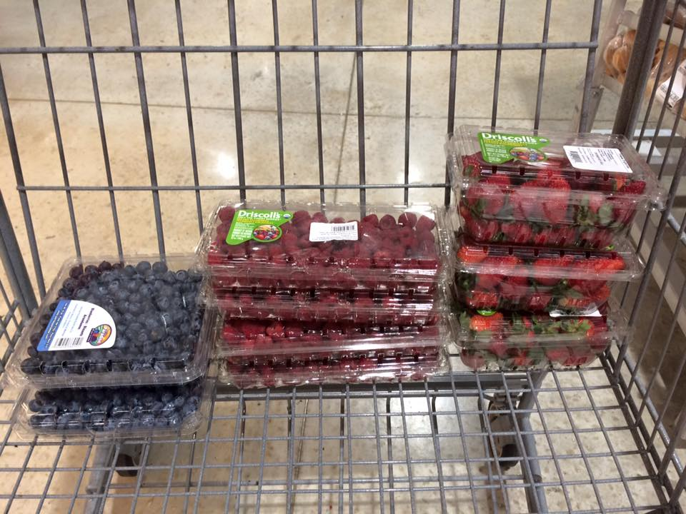 Organic blueberries and raspberries! We've missed you.