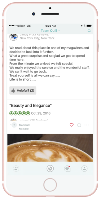 We will admit, we were surprised by this one. Teams are taking screen shots and sharing them on Quill. What a great way to get the word out. Trip Advisor, Facebook, Yelp, and customer emails.
