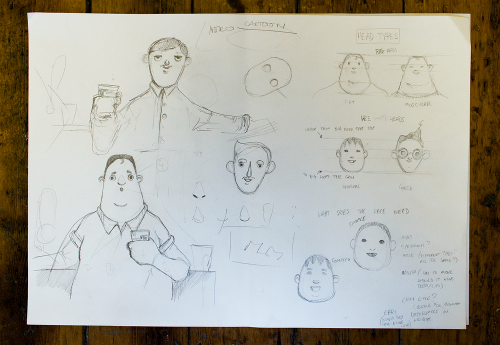 The preliminary sketches for Bobby and Paul