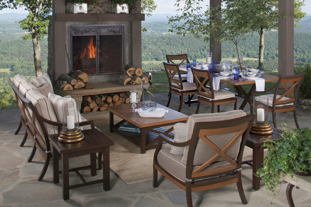... cast aluminum, wrought aluminum, teak, and wrought iron patio furniture,  with outdoor cushions from our exclusive line of outdoor fabrics. - SUMMER CLASSICS — The Summer House