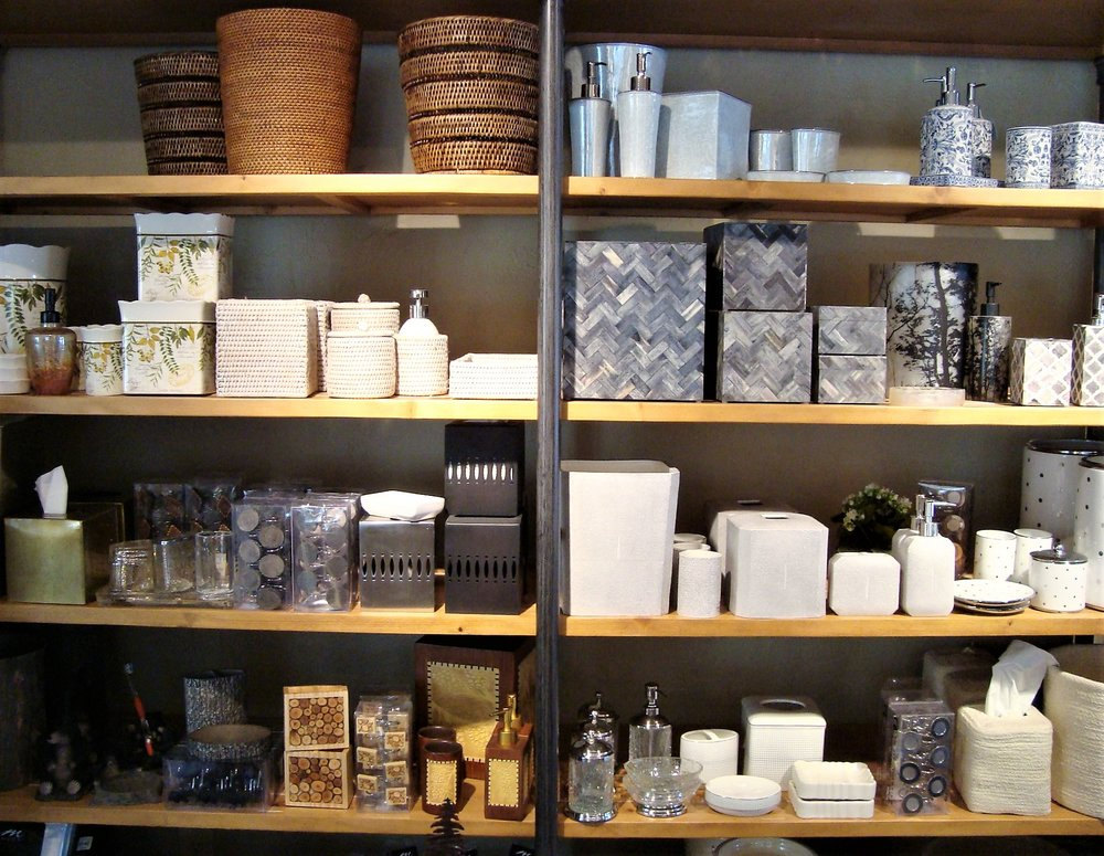 Every bathroom needs plenty of storage because everyone has their personal collection of bathroom toiletries and bathroom accessories. Bathroom storage can vary; jars, baskets, and decorative boxes. We also carry a selection of exclusive soaps and bath accessories to complete your collection.