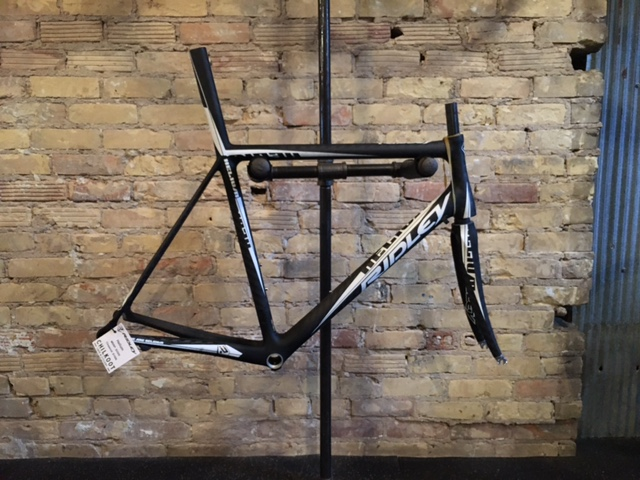 Ridley Helium. A lightweight bike designed to ride over hills, mountains and Belgium cobblestones. Ridley steps up this Helium with an integrated seat post for maximum performance. Size: Large. Call for pricing.