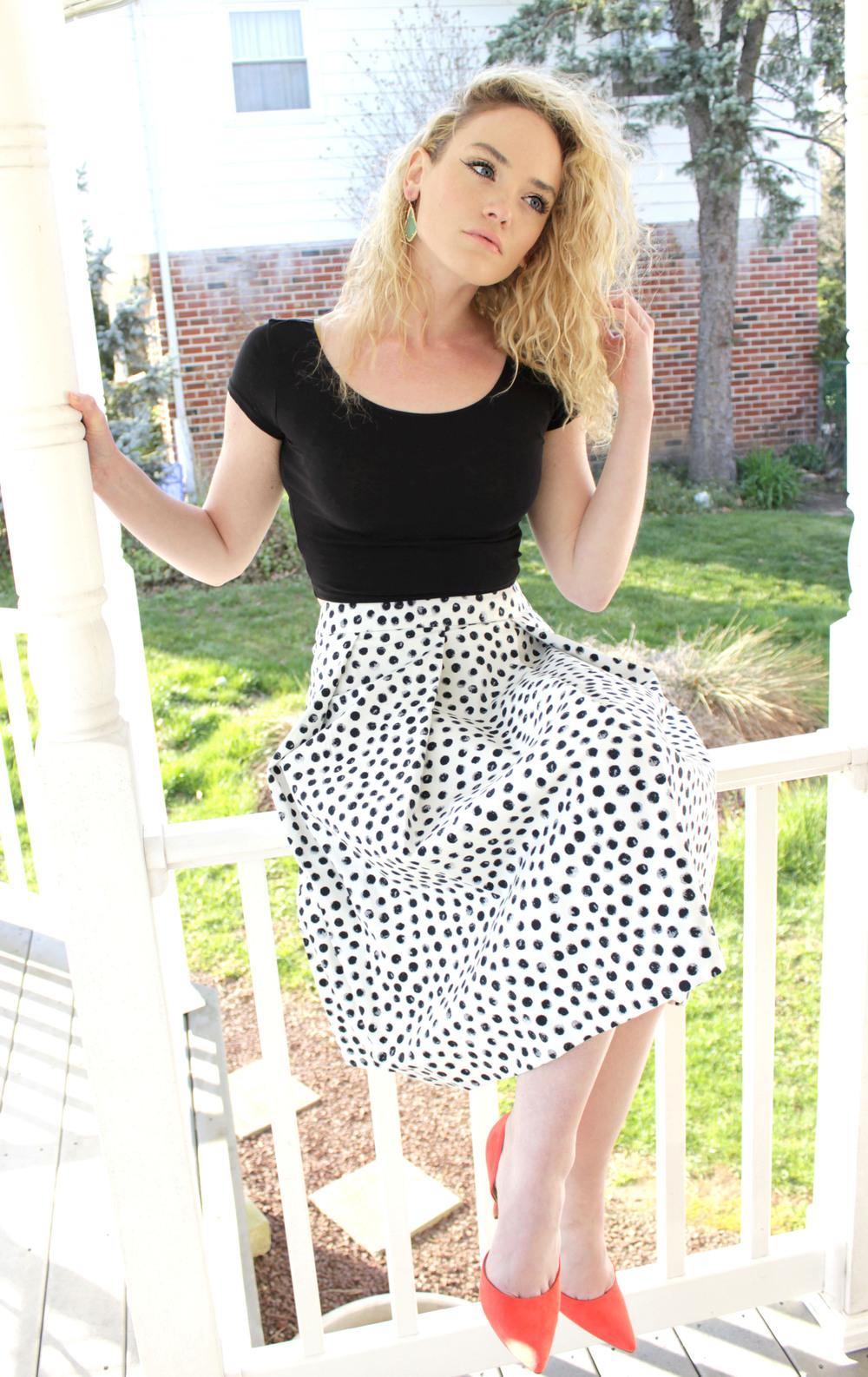 top | skirt | heels